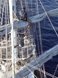Nigel climbing the rigging
