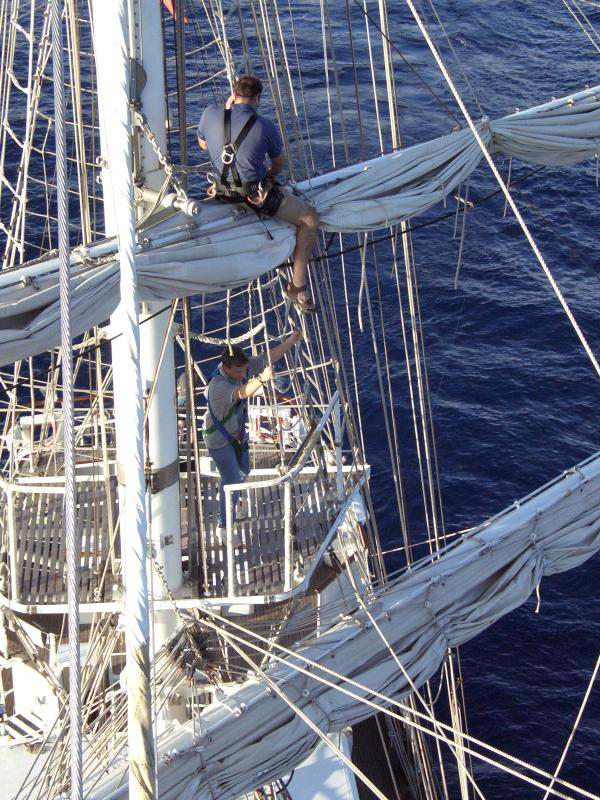 Nigel climbing the rigging
