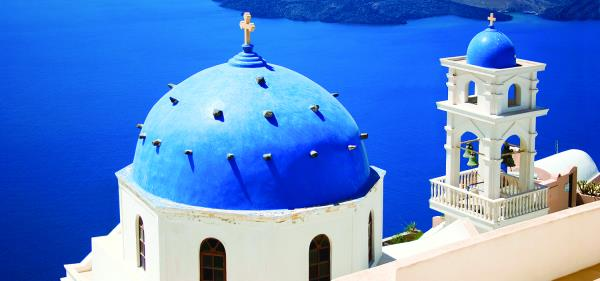 Blue Greek Sea and Roof