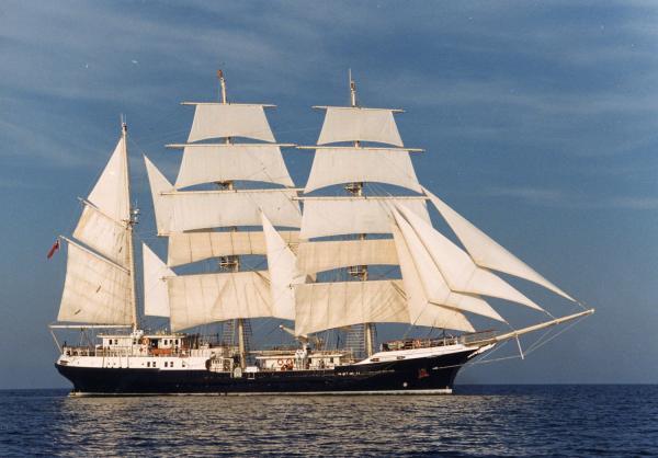 Tenacious under full sail