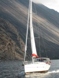 Sailing by Stromboli, an active volcano!