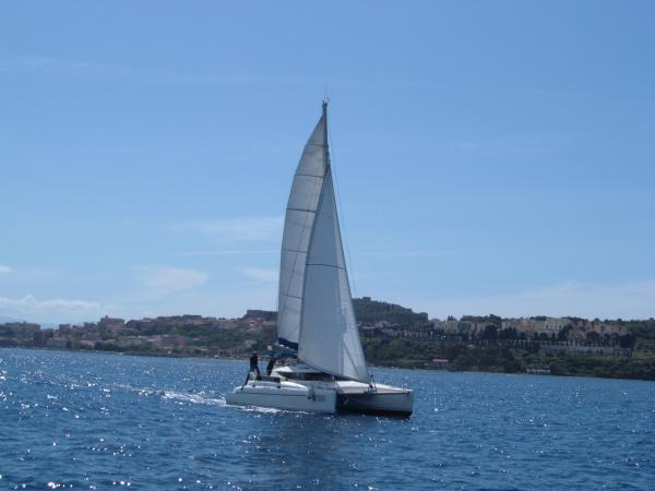 Catamaran sailing near Sicily