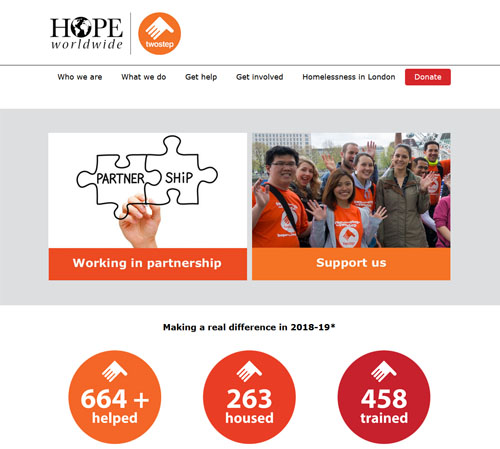 Two step homepage